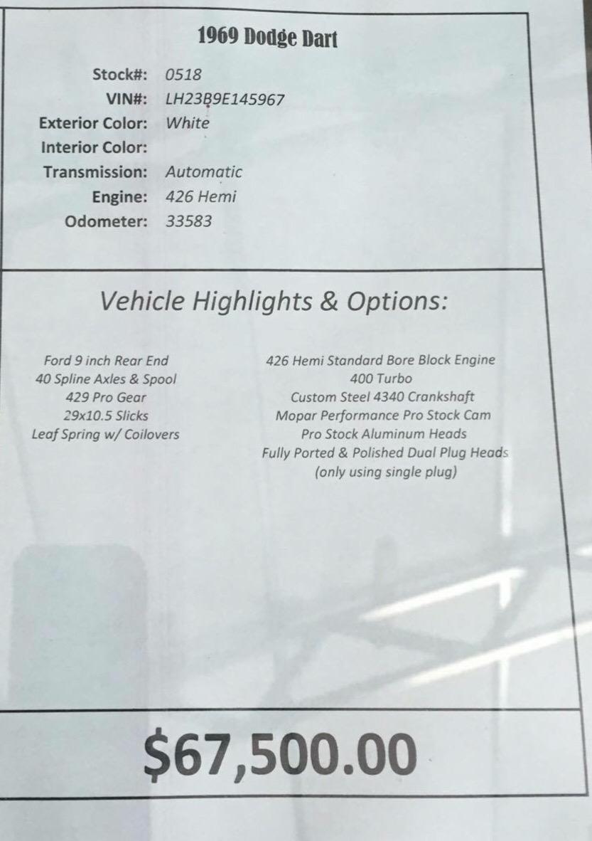 Used 1969 Dodge Dart 426 HEMI-Showroom Quality | Mundelein, IL