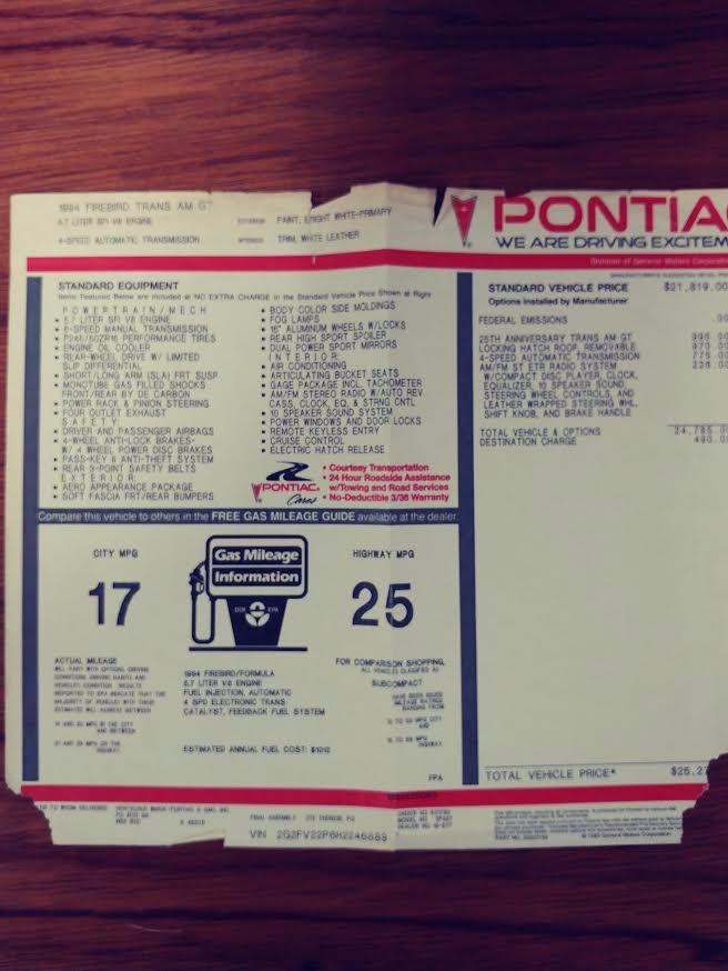 Used 1994 Pontiac Firebird -TRANS AM - RARE 25TH ANNIVERSARY EDITION- 10K ORIGINAL MILES- | Mundelein, IL